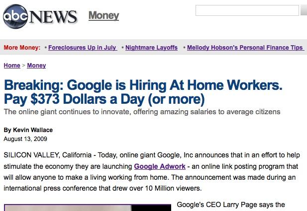 Google AdWork Scam